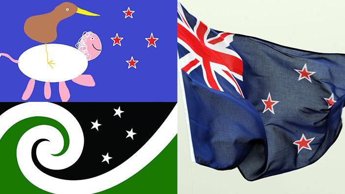 Dalawang disenyo ng mungkahing bandila ng New Zealand at ang kasalukuyang bandila