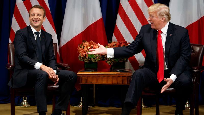 Les Presidents Emmanuel Macron et Donald Trump