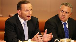 Avstralski ministrski predsednik Tony Abbott in zvezni blagajnik Joe Hockey