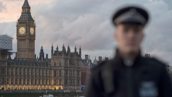 A police officer on guard outside the Palace of Westminster