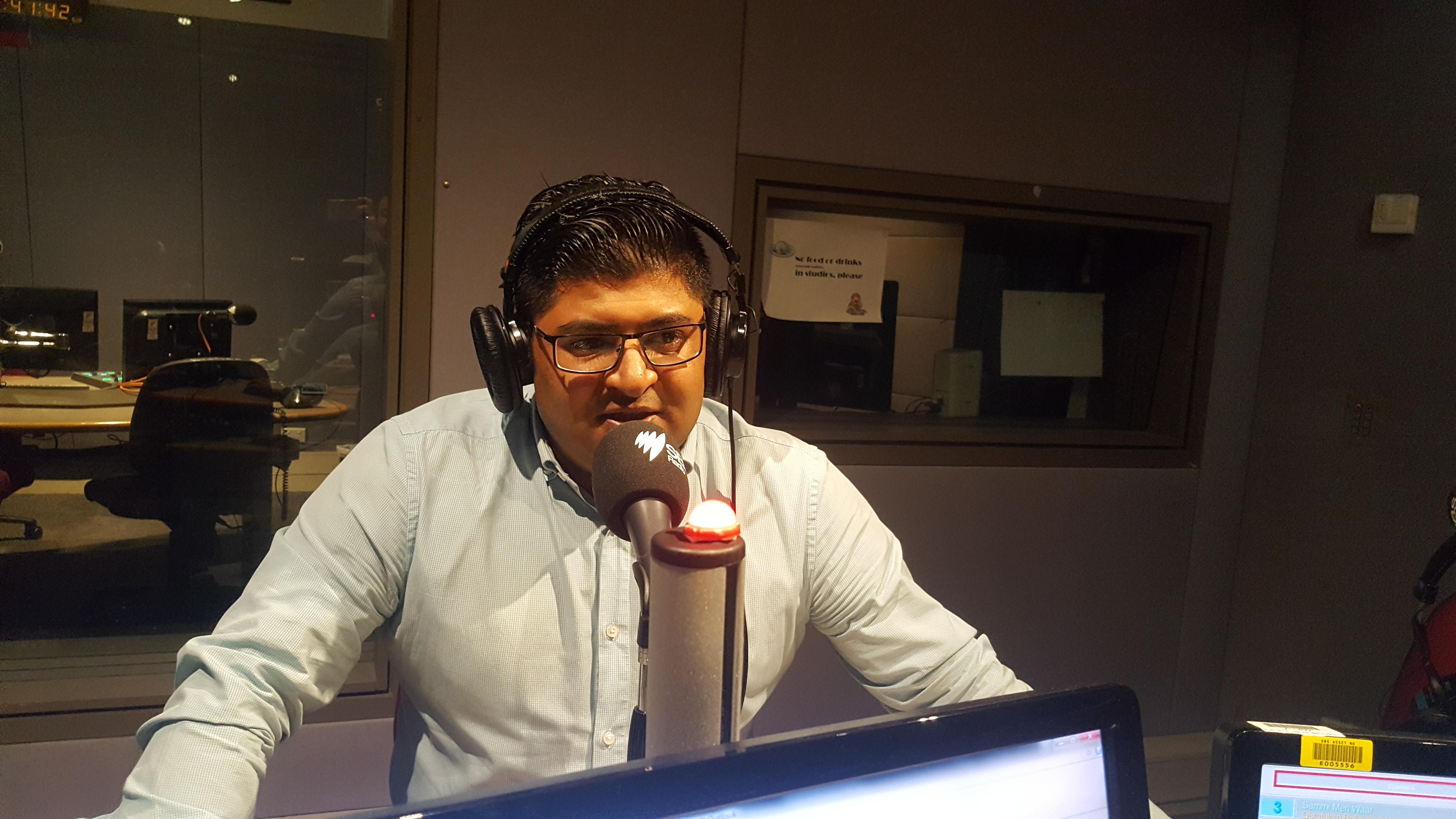 Malik Zeeshan from PSAA at SBS studio