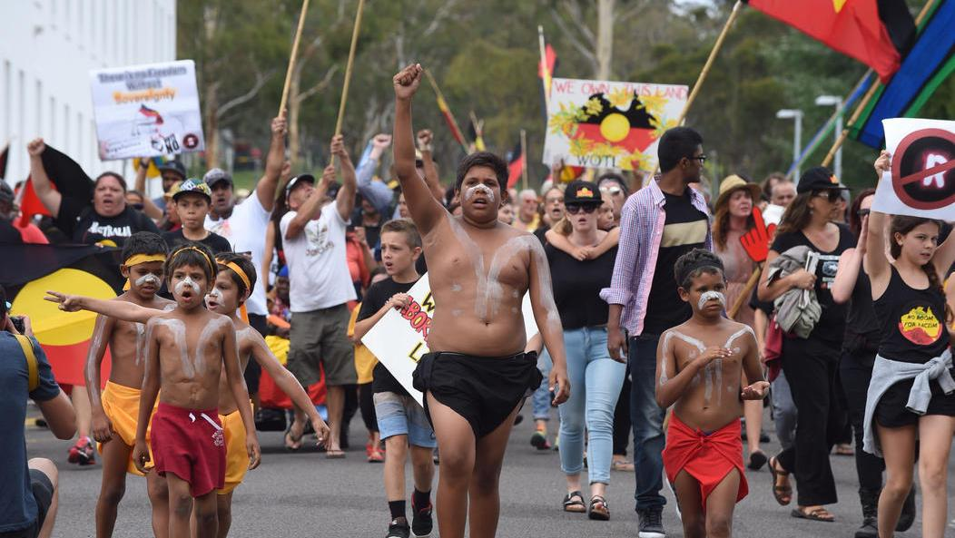 An Aboriginal protest at the Tent Embassy in Canberra on Australia Day 2015 (AAP)