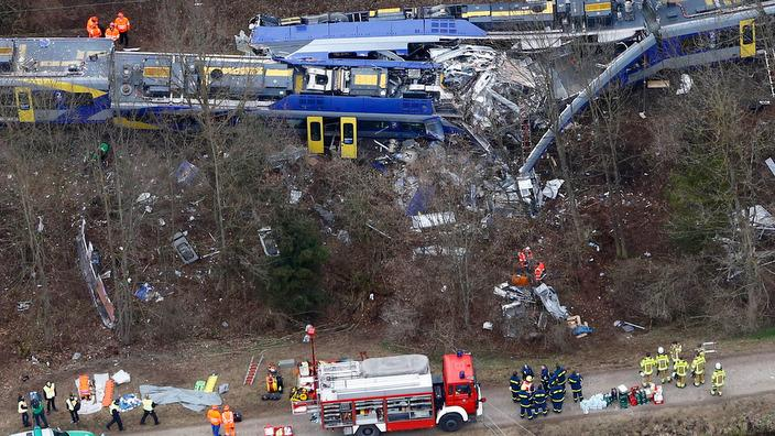 Aerial view of rescue teams at the site where two trains collided head-on near Bad Aibling