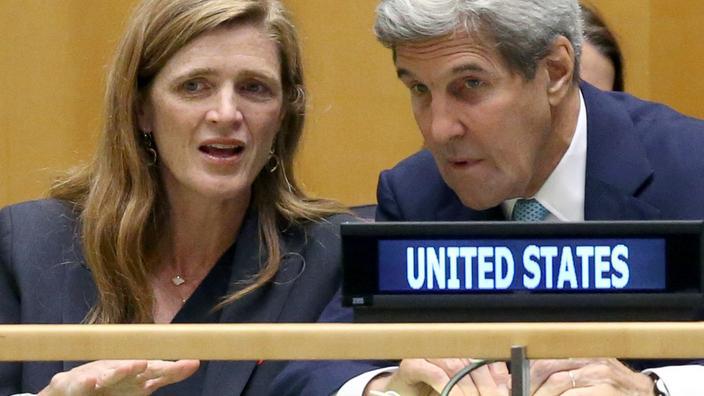 Samantha Power, left, and US Secretary of State John Kerry