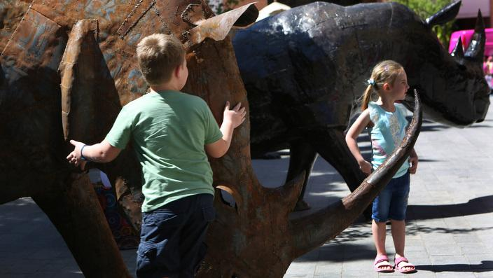 Sculptures of rhinos in Johannesburg
