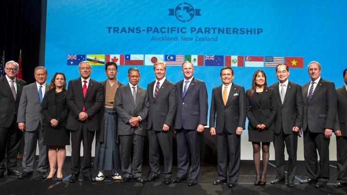 Nhóm các nhà lãnh đạo ký thảo thuận TPP tại  Auckland, Tháng Hai 2016