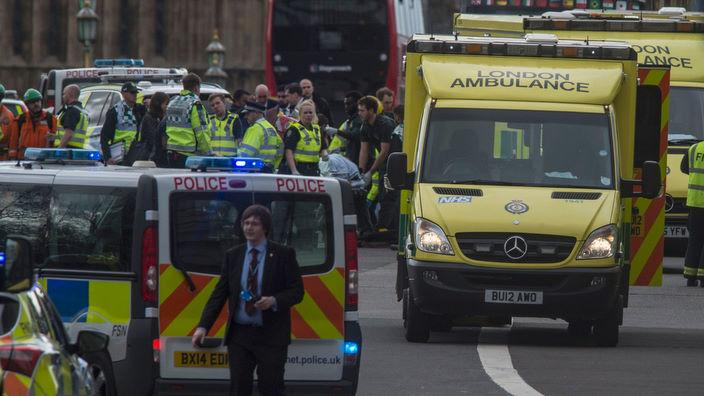 Emergency vehicles at the scene in London