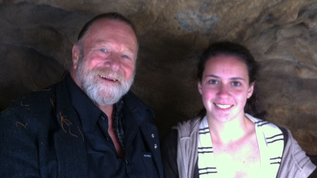 Actor Jack Thompson and work experience student Hannah Ranby