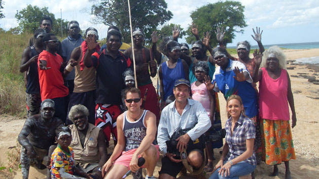 The Living Black team with traditional owners at Ski Beach