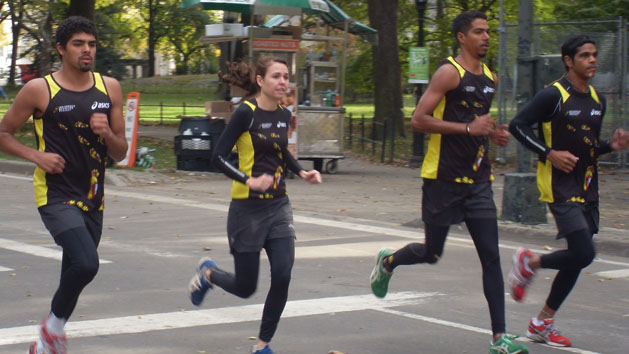 Indigenous competitors in the New York Marathon train in Central Park
