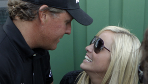 Amy Mickelson dragged herself off her sick bed to witness husband Phil win his third Masters title [AAP]