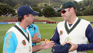 Australia Test captain Ricky Ponting hits debutant Ryan Harris up for a few beers after the match [GETTY]