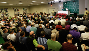 The media pack was out in force at Augusta for Tiger Woods's first public press conference [GETTY]