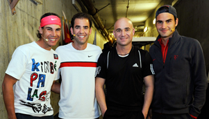 All smiles... Rafael Nadal and Roger Federer join Pete Sampras and Andre Agassi for their 'charity spat' [GETTY]