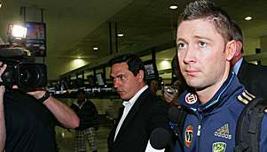 Sitting duck...Michael clarke arrives in New zealand after splitting with fiance Lara Bingle. (Getty)