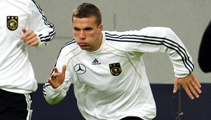 Lukas Podolski shows that he is not the laziest player in the German national team [GETTY]